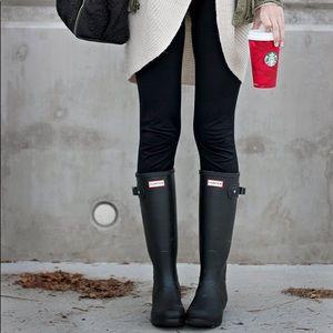 EUC tall black matte Hunter Rain Boots size 5